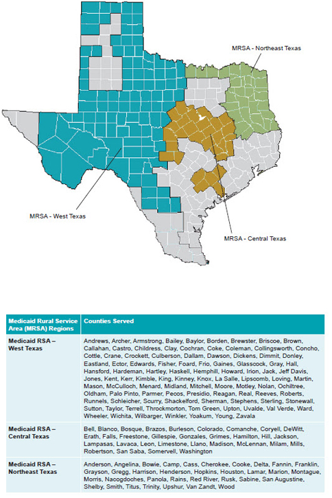 MRSA service area map of Texas